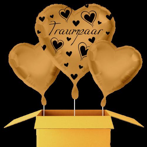 Hochzeit Traumpaar Goldene Herzen Bouquet 43cm